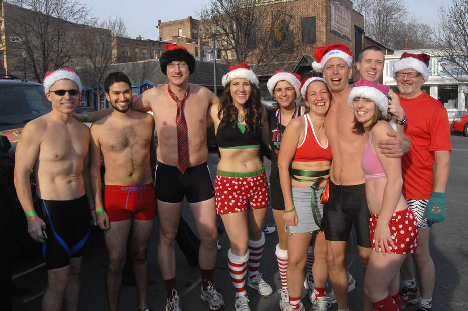 Braving the cold, Santas and Santas' helpers lined up to run in the fifth annual Santa Speedo Sprint on Saturday, Dec. 11, in Albany, N.Y. Click through a gallery to see who took part in the fun run. Photo: Brian Tromans