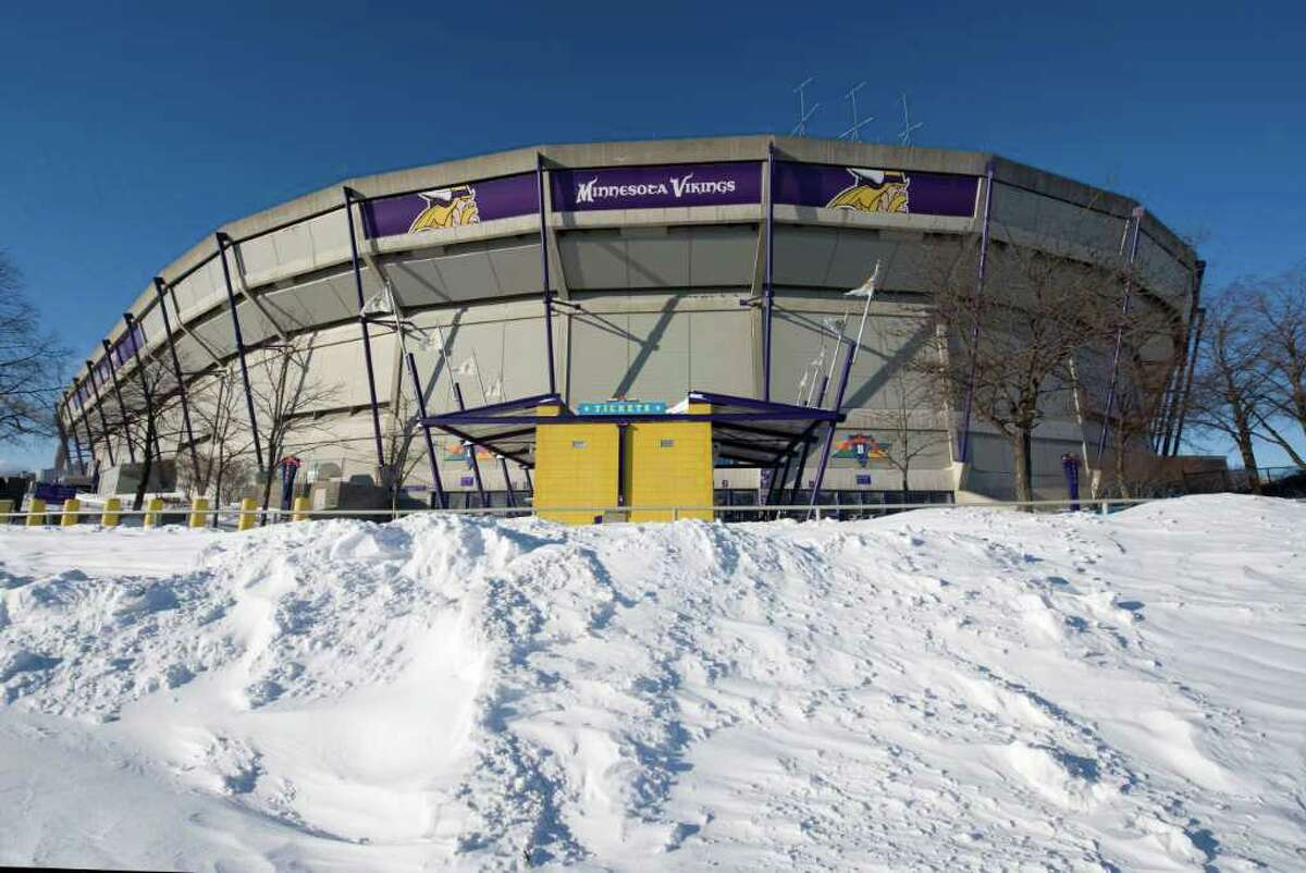 MINNEAPOLIS, MN - DECEMBER 12: Snow surrounds the Hubert H. Humphrey Metrodome, Mall of America Stadium where the inflatable roof collapsed under the weight of snow during a storm Sunday morning December 12, 2010 in Minneapolis, Minnesota. A blizzard dumped more than 20 inches of snow in parts of the Midwest forcing the NFL football game between the New York Giants and the Minnesota Vikings to be postponed till Monday and will be played in Detroit's Ford Field. There were no injuries reported from the collapse of the dome. (Photo by Tom Dahlin/Getty Images)