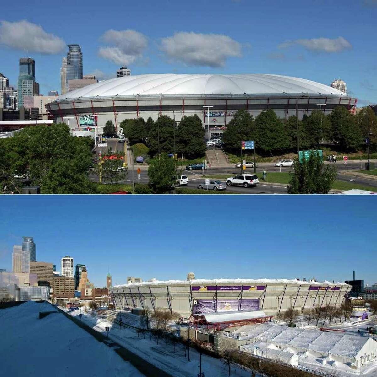 MINNEAPOLIS, MN - DECEMBER 12: This photo composite shows Hubert H. Humphrey Metrodome, Mall of America Stadium before (above) and after it's inflatable roof collapsed under the weight of snow and during a storm Sunday morning December 12, 2010 in Minneapolis, Minnesota. A blizzard dumped more than 20 inches of snow in parts of the Midwest forcing the NFL football game between the New York Giants and the Minnesota Vikings to be postponed till Monday and will be played in Detroit's Ford Field. There were no injuries reported from the collapse of the dome. (Photos by Doug Pensinger (above) and Tom Dahlin/Getty Images)