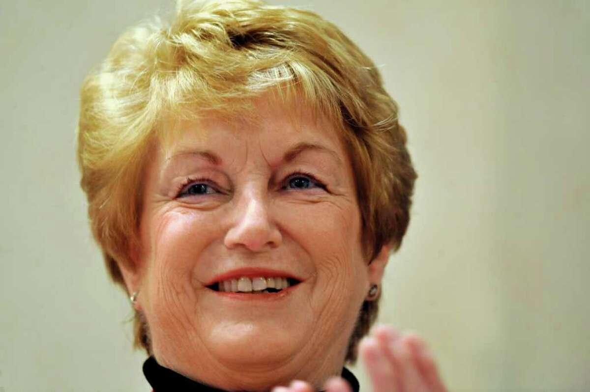 Connecticut Gov. M. Jodi Rell smiles while attending the Middlesex County Chamber of Commerce Breakfast in Cromwell, Conn., Monday, Dec. 13, 2010. (AP Photo/Jessica Hill)