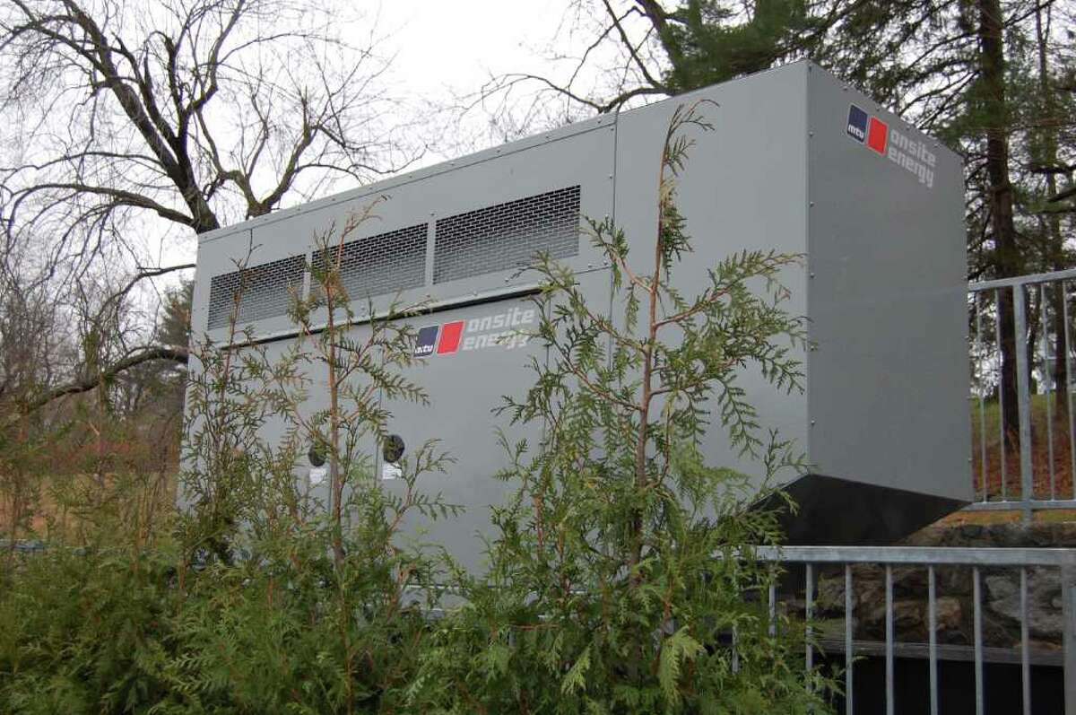 The Western Greenwich Civic Center on Pemberwick Road has a new emergency generator, shown here Monday. The generator was obtained with federal Homeland Security funds. The civic center serves as one of the town's two emergency shelters, along with Eastern Middle School. It can accommodate 225 as a shelter and up to 350 individuals if it's used as a warming or cooling center. (Photo by Lisa Chamoff/staff)