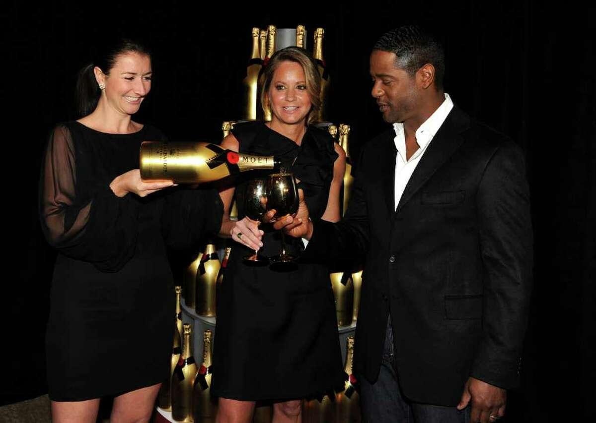 BEVERLY HILLS, CA - DECEMBER 14: Moet & Chandon's Julia Fitzroy and Ann DiGiovanna with actor Blair Underwood during the 68th Annual Golden Globe Awards nomination announcement held at the Beverly Hilton Hotel on December 14, 2010 in Beverly Hills, California. (Photo by Kevin Winter/Getty Images) *** Local Caption *** Julia Fitzroy;Ann DiGiovanna;Blair Underwood