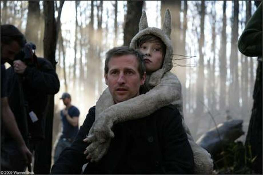 """Director Spike Jonze and star Max Records on the set of """"Where the Wild Things Are."""""""