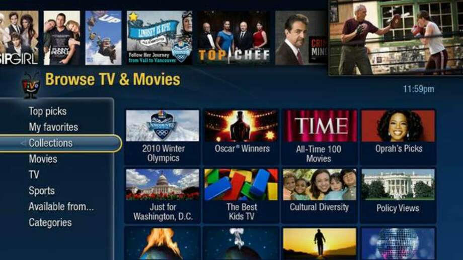 In this image released by TiVo Inc., Tuesday in New York, a TV screen shows how TiVo Premiere displays programming. TiVo Premiere combines access to cable programming, movies, web videos, and music all in one box. Photo: / Associated Press