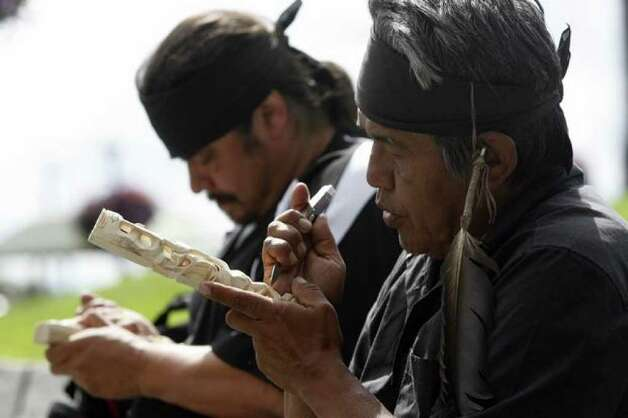 Rick Williams, right, said his brother John T. Williams, who was killed in a confrontation with a Seattle police officer Monday, lost hearing in his left ear eight years ago. John Williams was part of the Nitinaht Tribe. His nephew, Paul Williams, left, said John was a seventh-generation carver. Photo: Casey McNerthney/seattlepi.com