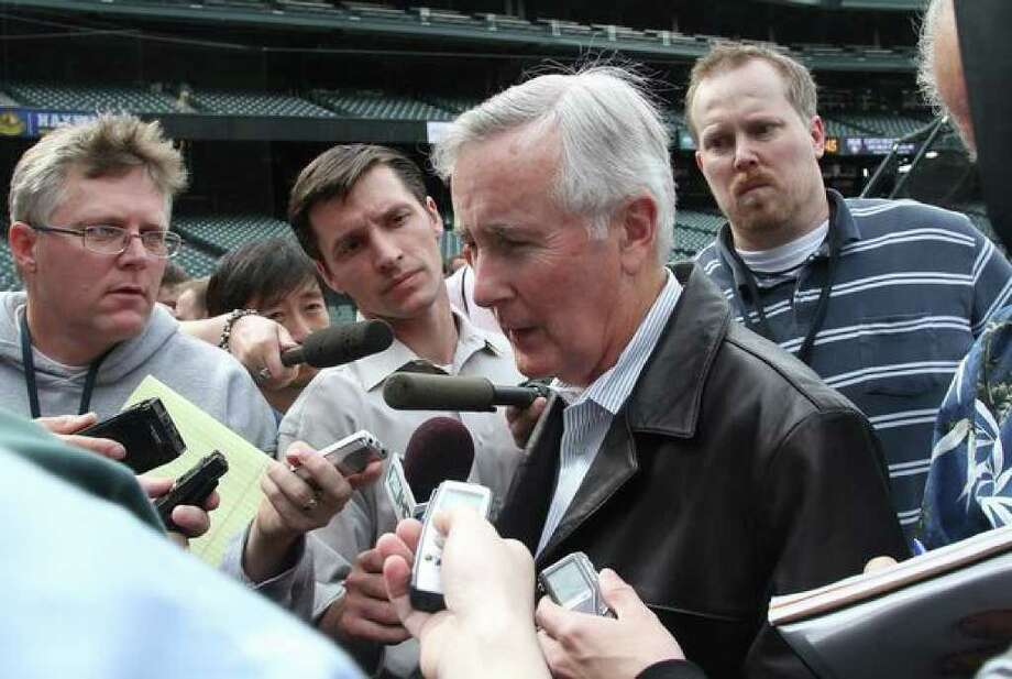 Seattle Mariners Chairman and Chief Executive Officer Howard Lincoln speaks with the media after the team announced the retirement of Ken Griffey Jr. prior to a game against the Minnesota Twins at Safeco Field in Seattle on June 2, 2010. (Photo by Otto Greule Jr/Getty Images) Photo: / Getty Images