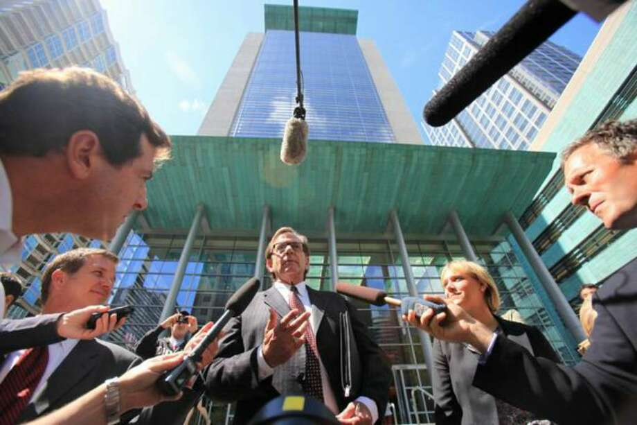 Colton Harris-Moore's attorney John Henry Browne addresses the media on the steps of the United States Courthouse in Seattle on Thursday. Harris-Moore was ordered held without bail. See photo gallery. Photo: Joshua Trujillo/seattlepi.com