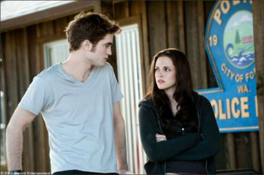 "Vampire Edward (Robert Pattinson) and mortal love Bella (Kristin Stewart) share a moment in ""The Twilight Saga: Eclipse."""