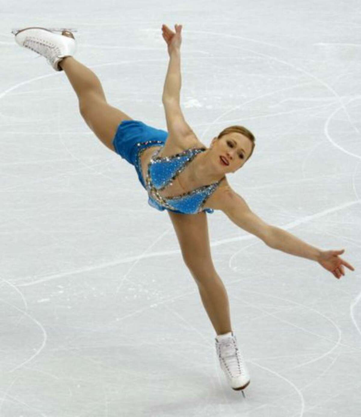 Joannie Rochette of Canada performs in the free program of the women's figure skating competition.