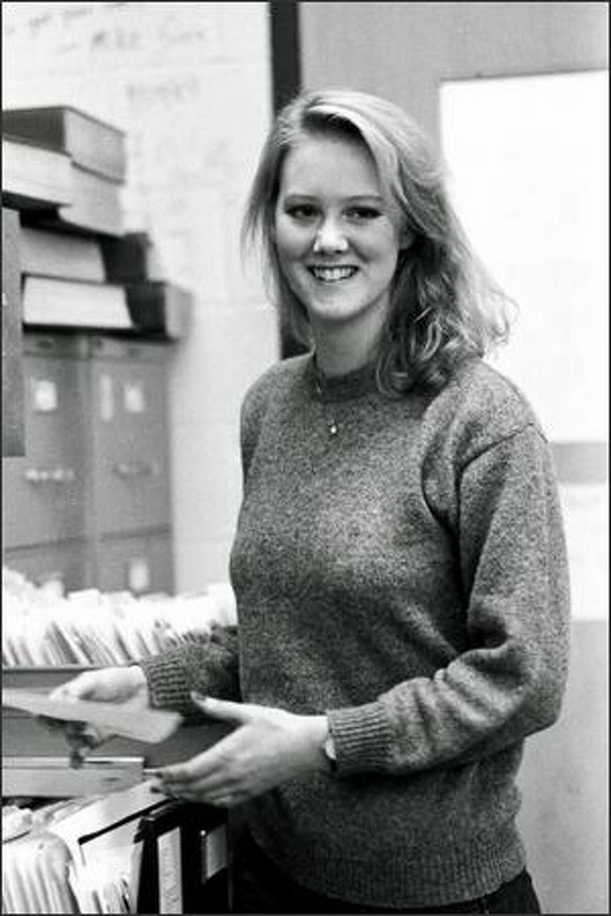 Heather Brooke in the offices of the University of Washington Daily during her student days. (Photo courtesy of Hideki Tomeoka)