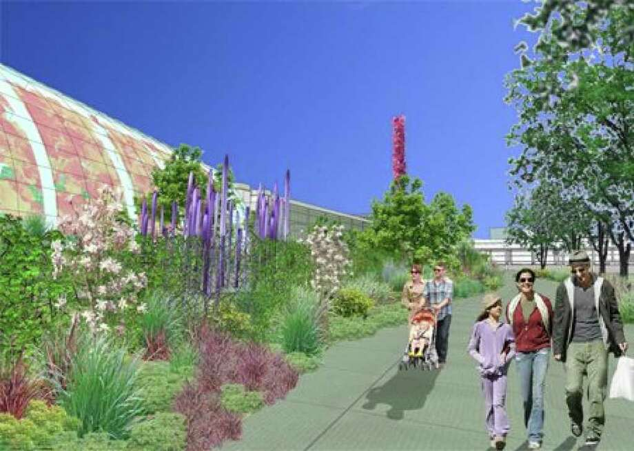 A rendering of the outside of a Dale Chihuly glass exhibit at Seattle Center (Rendering courtesy the Space Needle Corp. and the city of Seattle). Photo: /