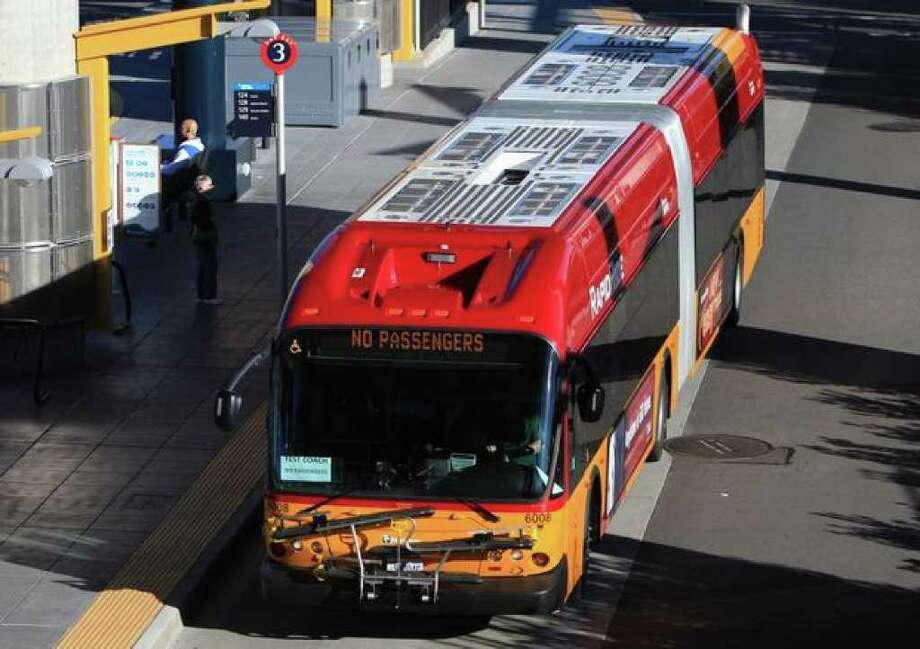 A new RapidRide bus is shown at the Tukwila transit station on Thursday. Photo: Joshua Trujillo/seattlepi.com