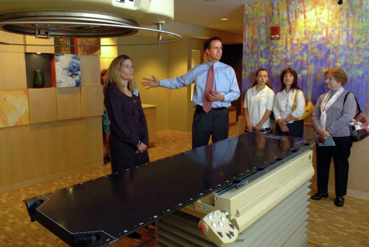 Patrick Charmel, Griffin Health Services President & CEO, talks about the new Center for Cancer Care's linear accelerator during a tour of the facility in October of 20008.