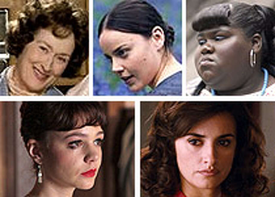 "Best Actress possibilities clockwise from upper left: Meryl Streep in ""Julie & Julia,"" Abbie Cornish in ""Bright Star,"" Gabby Sidibe in ""Precious,"" Penelope Cruz in ""Broken Embraces"" and Carey Mulligan in ""An Education."""
