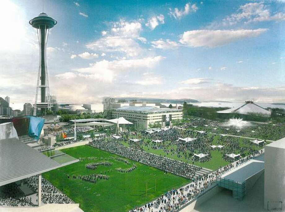 An artist's rendering shows a proposed multi-function green space on the site of Seattle Center's Memorial Stadium. Photo: /