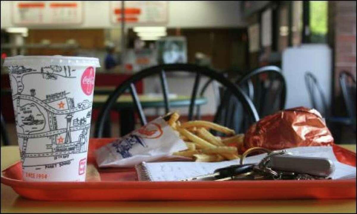 A Dick's lunch in 2008. (Monica Guzman/Seattlepi.com file)