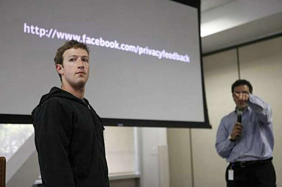 Facebook founder and CEO Mark Zuckerberg takes questions from the media during a press conference at Facebook headquarters in Palo Alto, Calif., announcing changes to the social networking site's privacy settings on Wednesday. Photo: / San Francisco Chronicle