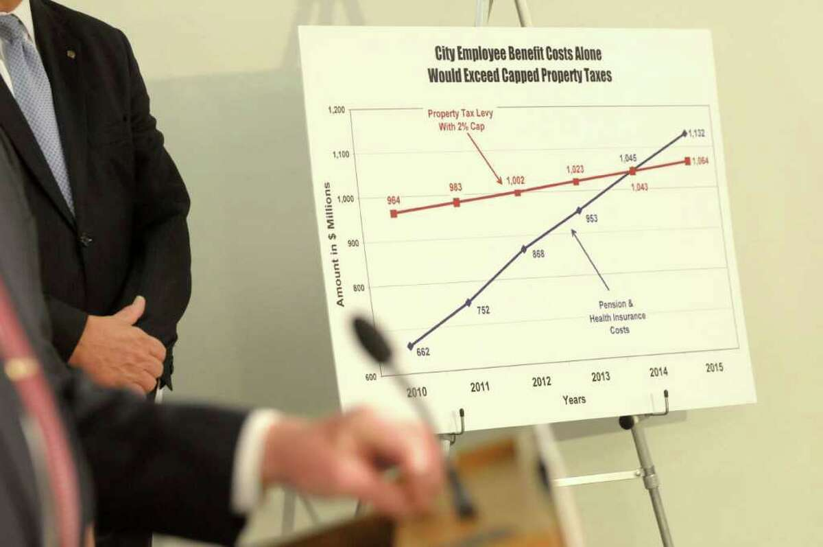 A graph shows, according to York State Conference of Mayors and Municipal Officials, how city employee benefit costs would exceed capped property taxes, is seen on display during a news conference held by members of the New York State Conference of Mayors and Municipal Officials at the Legislative Office Building in Albany, on Tuesday, Dec. 14, 2010. Mayors and municipal officials from around the state came to Albany to release their plan of recommendations for property tax relief. (Paul Buckowski / Times Union)