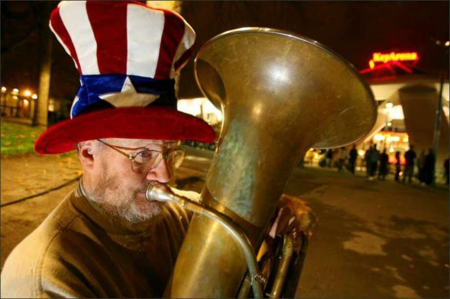 Tuba Man Edward McMichael is shown here outside a Sonics game on Nov. 9, 2007. He died after a street attack roughly a year later. Photo: Scott Eklund/Seattle Post-Intelligencer
