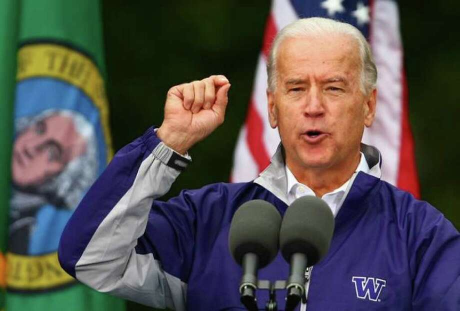 U.S. Vice President Joe Biden speaks in front of a crowd of supporters on Friday at the University of Washington Tacoma. Photo: Joshua Trujillo/Seattle Post-Intelligencer