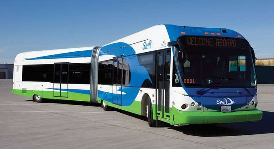 Swift buses will operate on a 17-mile corridor in Snohomish County between Everett Station and the Aurora Village Transit Center in Shoreline, primarily along Highway 99. (Community Transit photo) Photo: /