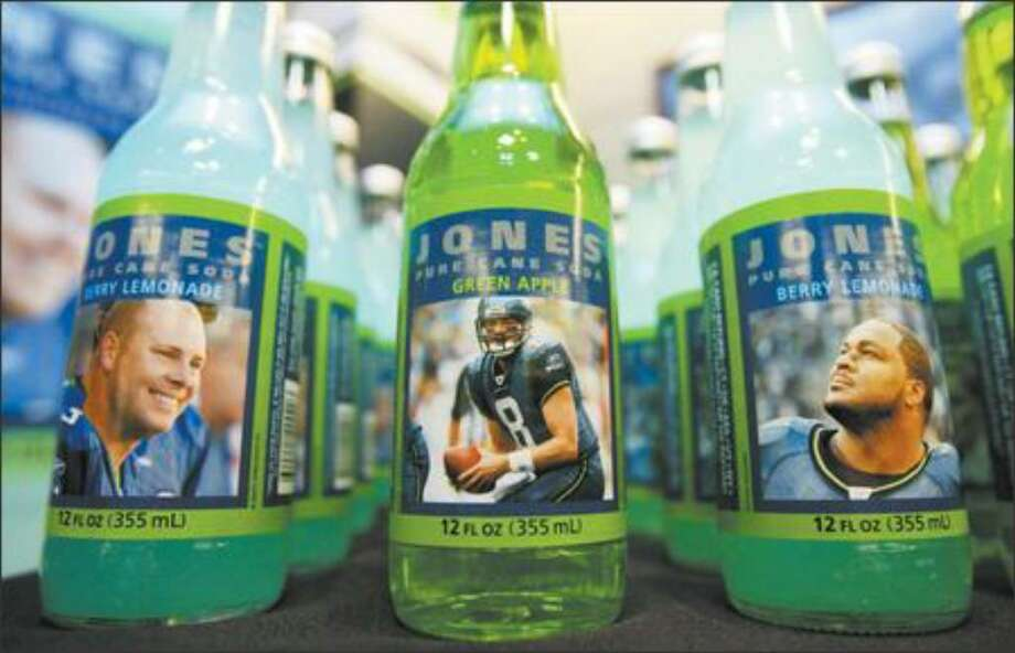 Jones Soda bottles featuring Seattle Seahawks players were displayed June 11, 2007, at the Seahawks' office in Kirkland. Photo: Dan DeLong/P-I