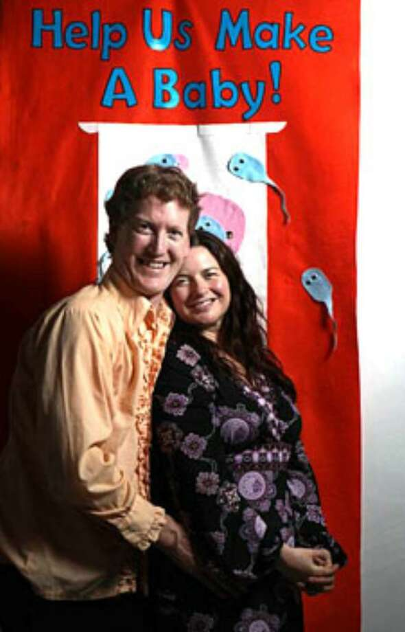 Brian and Molly Walsh host a party in their San Francisco home to raise funds for in-vitro fertilization. Photo: (Lea Suzuki /The San Francisco Chronicle)
