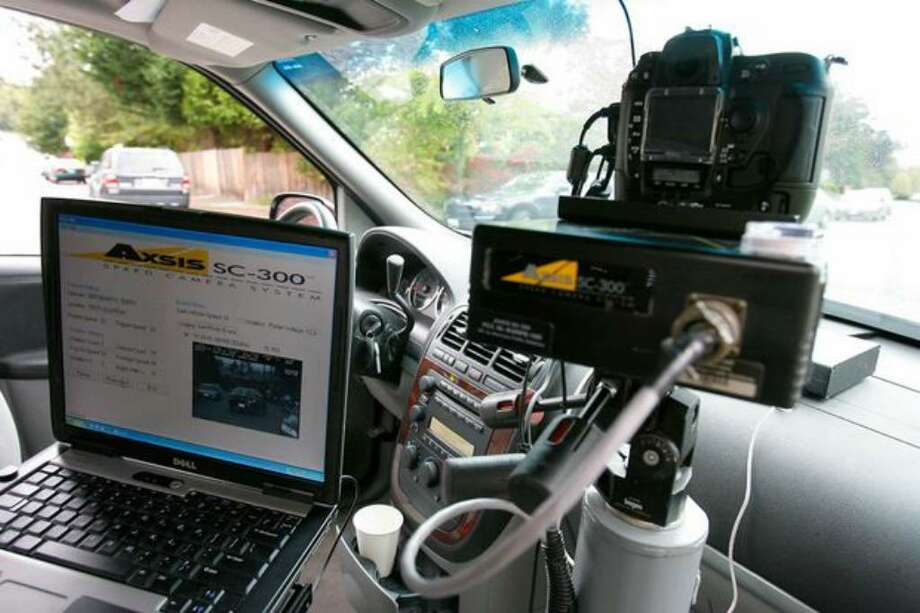 An interior view of the Seattle Police department's Speed Van, a new photo-radar van, during an October 2008 media demonstration. Photo: / P-I File