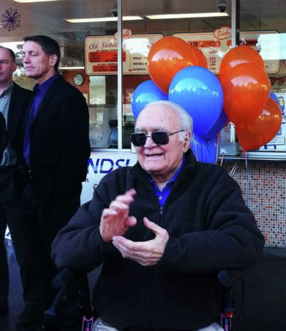 Dick Spady, co-founder and namesake of Dick's Drive-In, celebrated the announcement of the company's Edmonds location. The announcement was made at the original Wallingford location on Spady's 87th birthday.