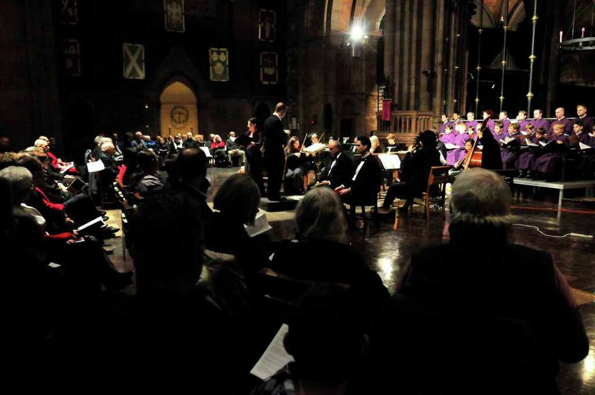 Soloist alto Kirsten Solleck performs with the Cathedral Choir of Men and Boys at the Cathedral of All Saints in Albany, Dec. 14, 2010. (Michael P. Farrell / Times Union)