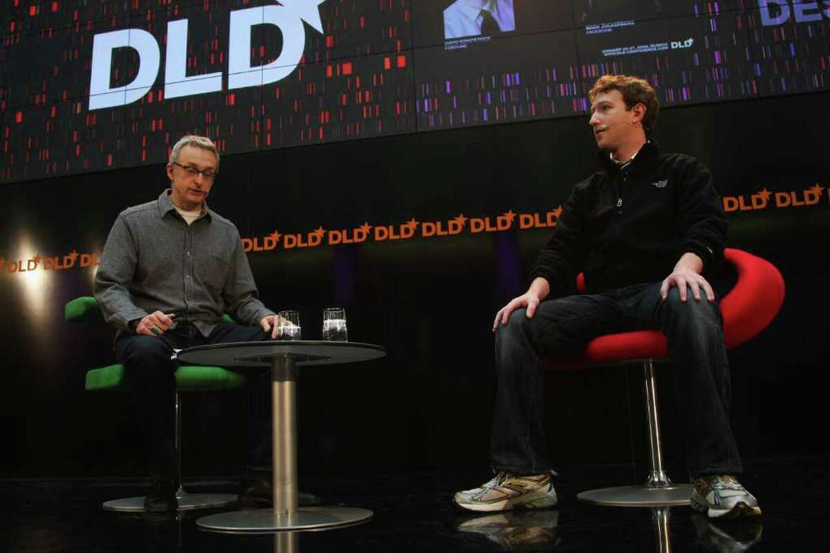 David Kirkpatrick (L) and Mark Zuckerberg, CEO of Facebook, attends the Digital Life Design (DLD) conference on January 27, 2009 in Munich, Germany. DLD brings together global leaders and creators from the digital world.