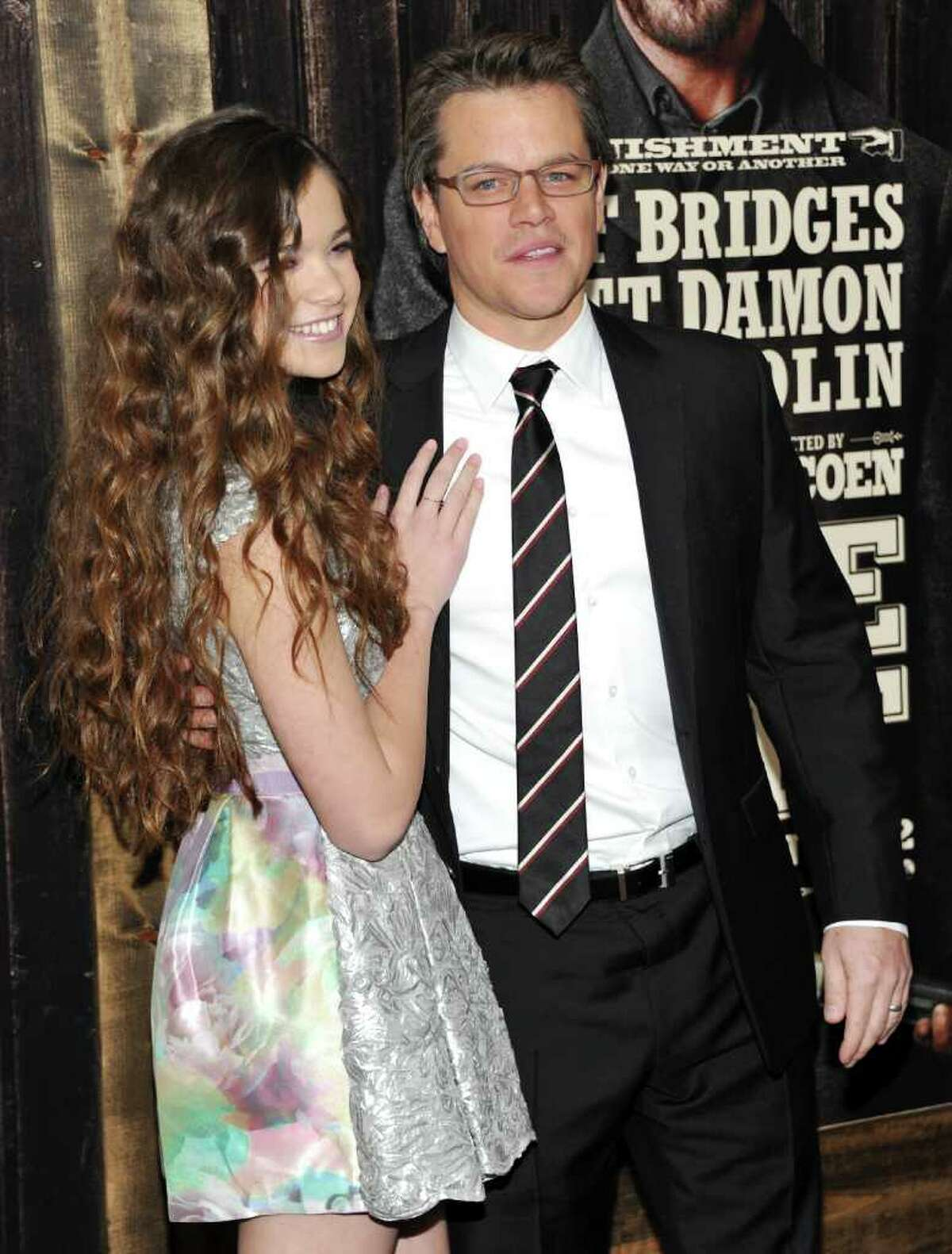Actress Hailee Steinfeld, left, and actor Matt Damon attend the premiere of 'True Grit' at the Ziegfeld Theatre on Tuesday, Dec. 14, 2010 in New York. (AP Photo/Evan Agostini)