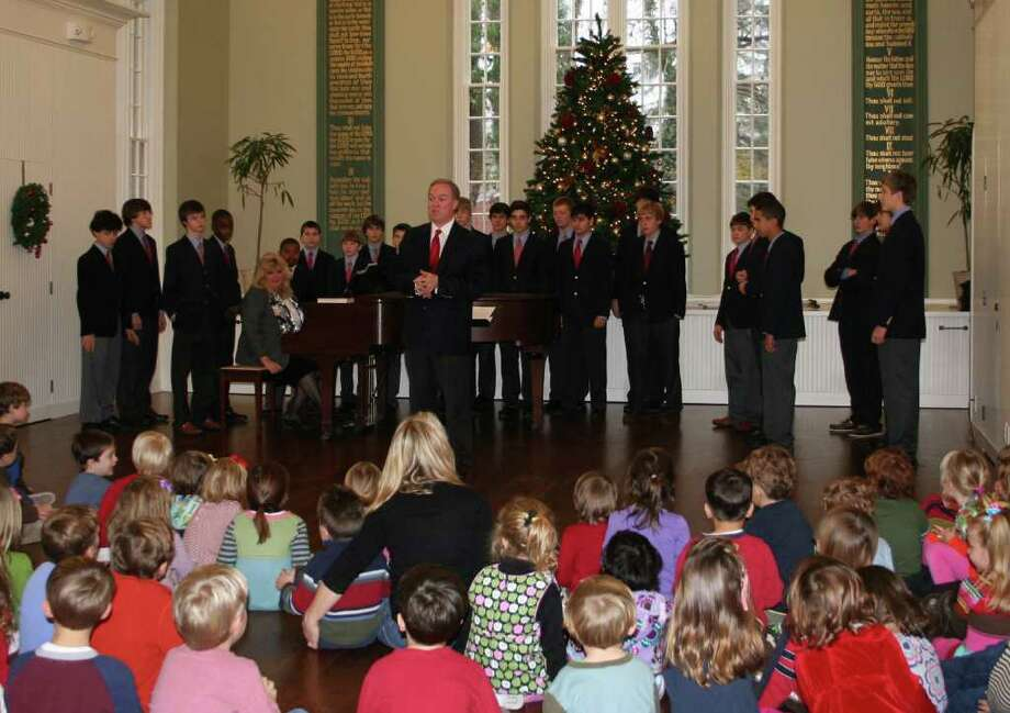 The Pinstripes singers from Fairfield Country Day School recently entertained youngsters at the Southport Congregational Church preschool program with a program of holiday music. Photo: Contributed Photo / Fairfield Citizen contributed