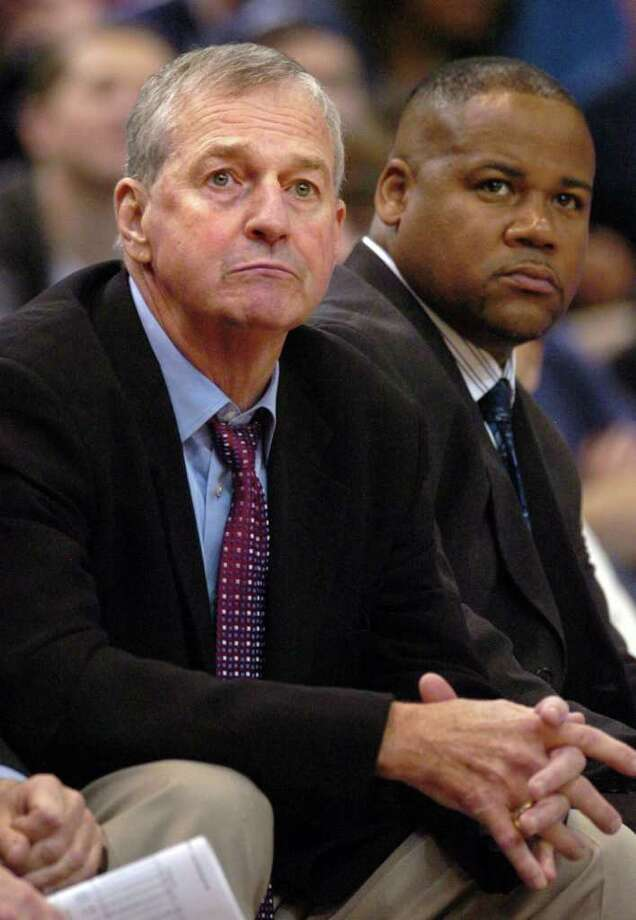University of Connecticut basketball coach Jim Calhoun watches his team play Bryant Saturday November 29, 2008 at the XL Center in Hartford. Photo: Autumn Driscoll / Connecticut Post