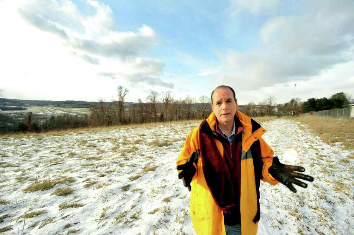 City Councilman Paul Rotello stands on the parcel of Lee Farm property in Danbury that the U.S.Army Reserve would build a 9 1/2 arcre parking lot and a 4,000 gallon diesel tank, Wednesday, Dec.15, 2010.