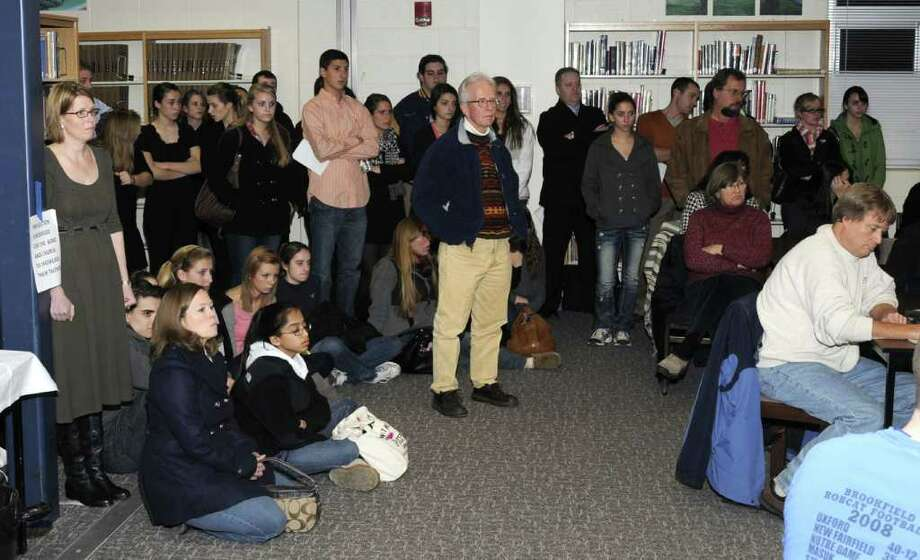 Brookfield High School students and their parents attended a Board of Education meeting in Brookfield on Wednesday, Dec. 15, 2010, in support of Dr. Robert Wollkind. Wollkind is on administrative leave for remarks he made to a student. Photo: Jay Weir / The News-Times Freelance