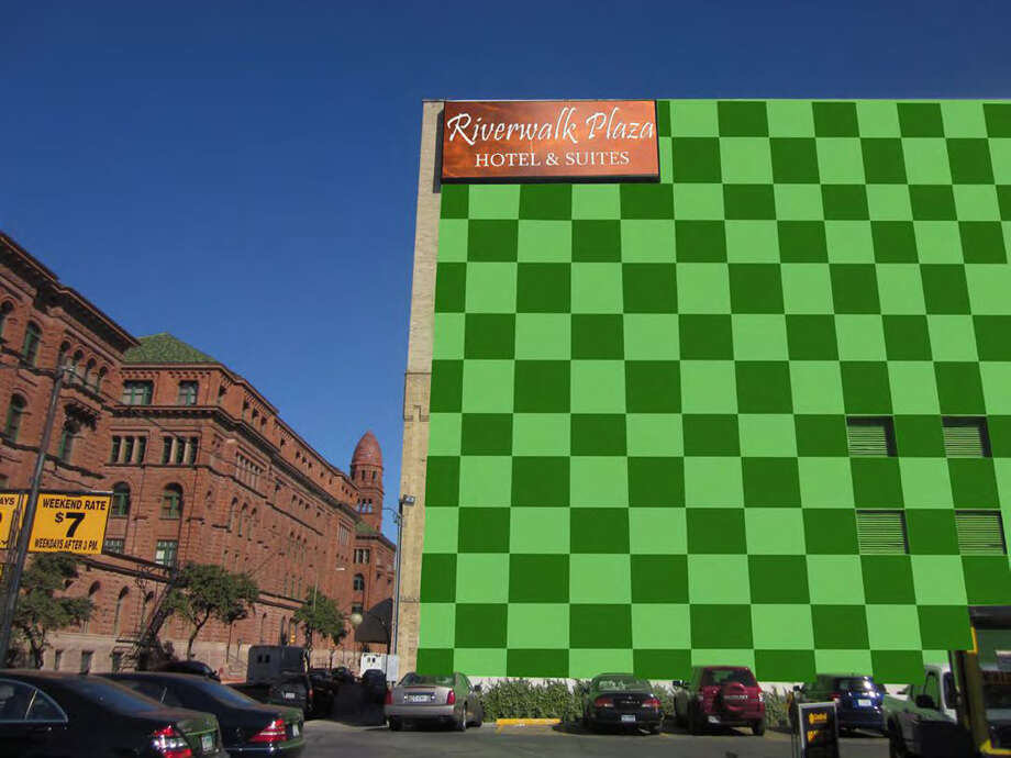 A city commission rejected the current light-green color of one of the Riverwalk Plaza Hotel's walls. This computer image shows what owners wanted it to look like when it was done. Photo: Courtesy Illustration/Express-News
