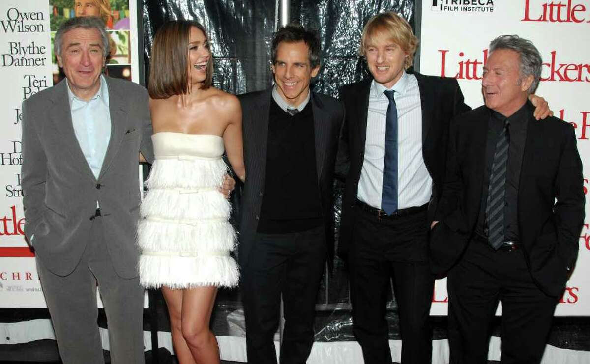 From left, actors Robert De Niro, Jessica Alba, Ben Stiller, Owen Wilson and Dustin Hoffman attend the premiere of