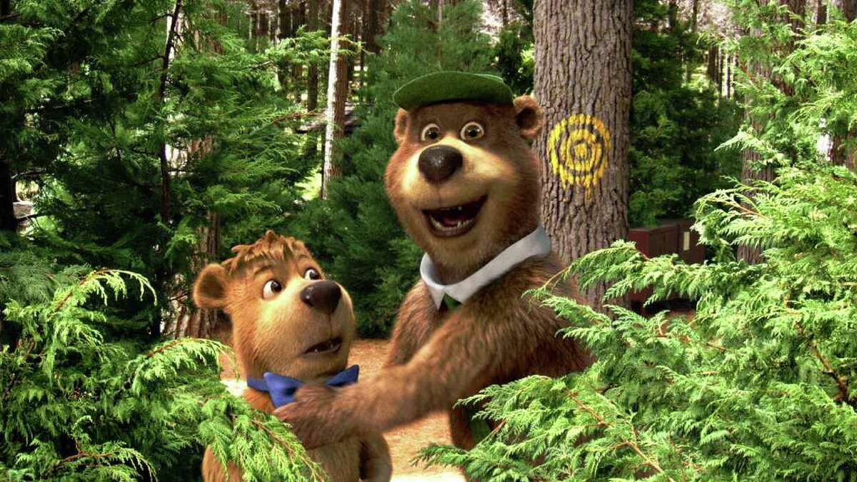 """In this film publicity image released by Warner Bros. Pictures, characters Boo Boo, voiced by Justin Timberlake, left, and Yogi Bear, voiced by Dan Aykroyd are shown in a scene from """"Yogi Bear."""" (AP Photo/Warner Bros. Pictures)"""