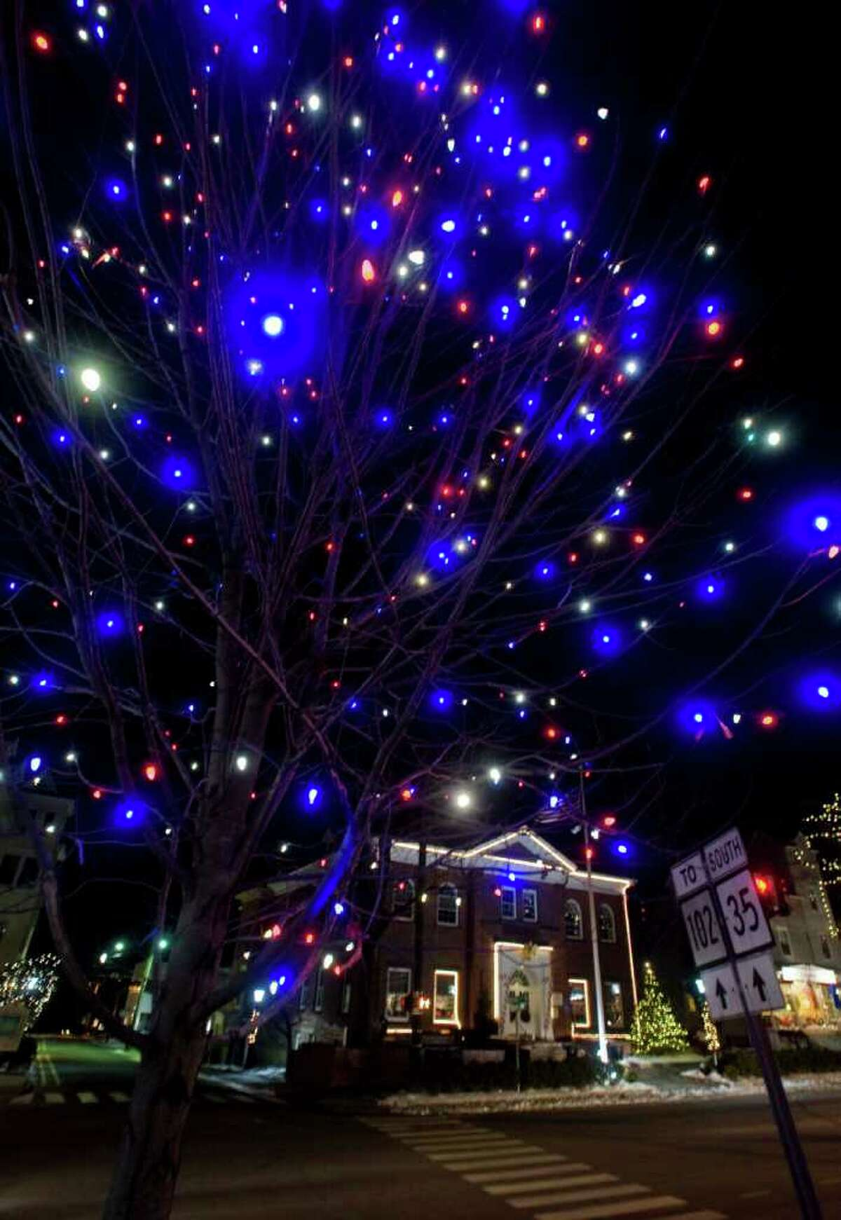 Ridgefield uses LED-technology lighting for their Christmas lights on Main Street. The town saves energy and thousands of dollars. Wednesday, Dec. 15, 2010