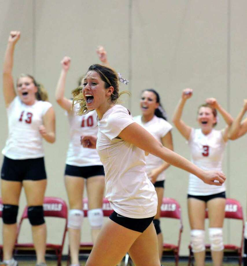 This week's Athlete of the Week honors go to Greenwich High's Kelsey Goodwin who, despite playing on an injured ankle, helped the Cardinals to a 3-1 volleyball victory over Fairfield Warde this week. Over the course of the match, Goodwin recorded 23 kills, 17 digs and 11 points. Photo: Keelin Daly, ST / Stamford Advocate