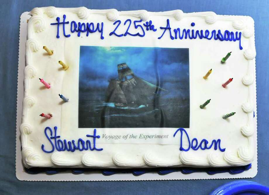 "A cake decorated with painter Len Tantillo's image commemorating the voyage of Stewart Dean's sloop ""Experiment.""  (John Carl D'Annibale / Times Union) Photo: John Carl D'Annibale / 00011427A"