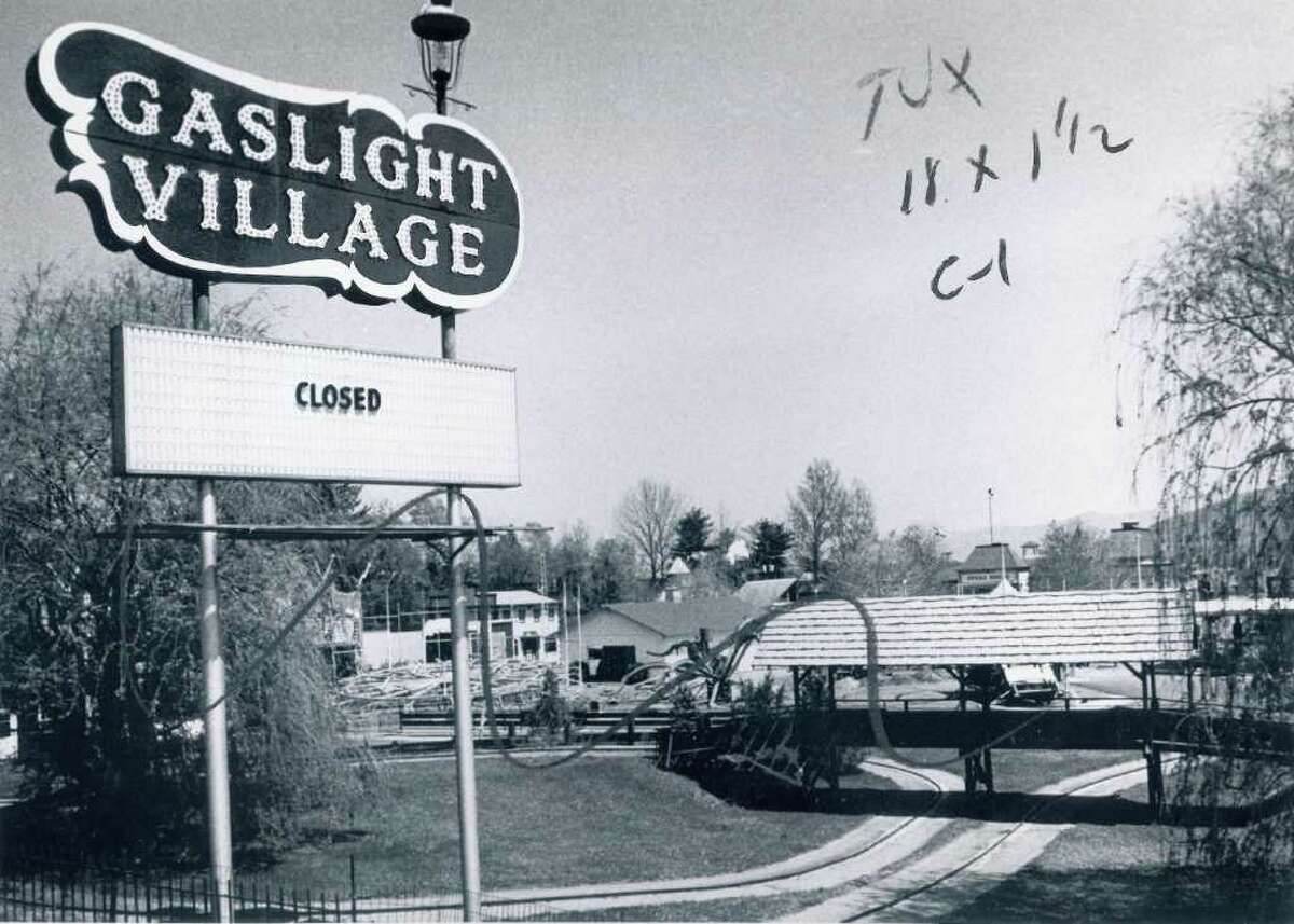 A sign shows that Gaslight Village in Lake George, N.Y. is closed on May 8, 1977.