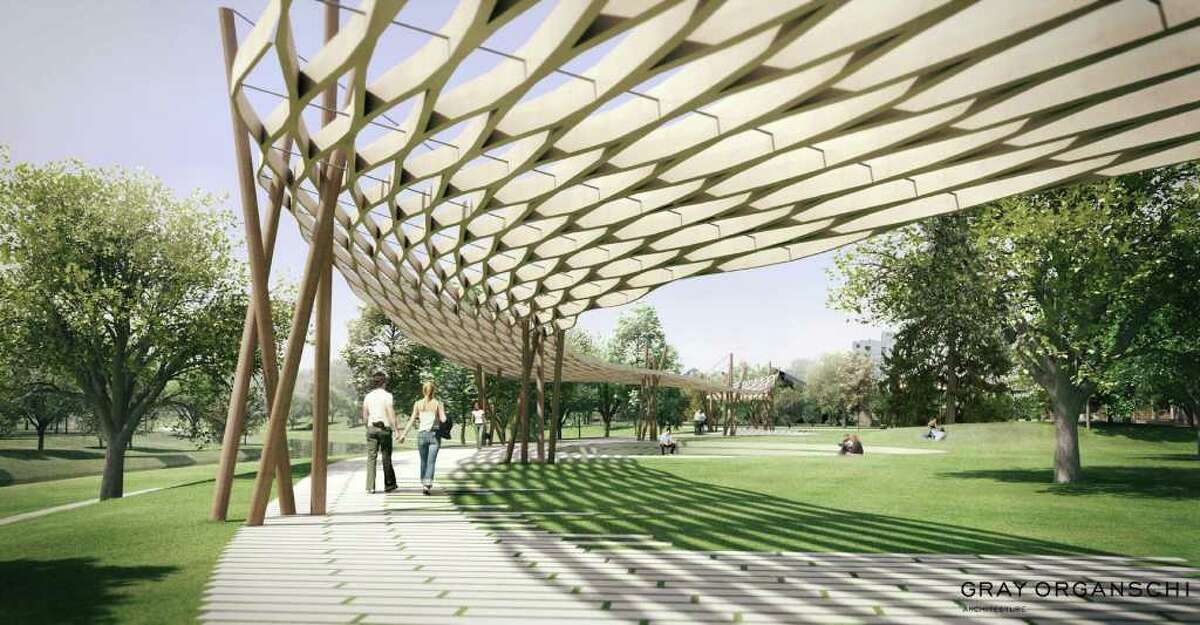 A view of the proposed 'porch' covering a trail at Stamford's Mill River Park.