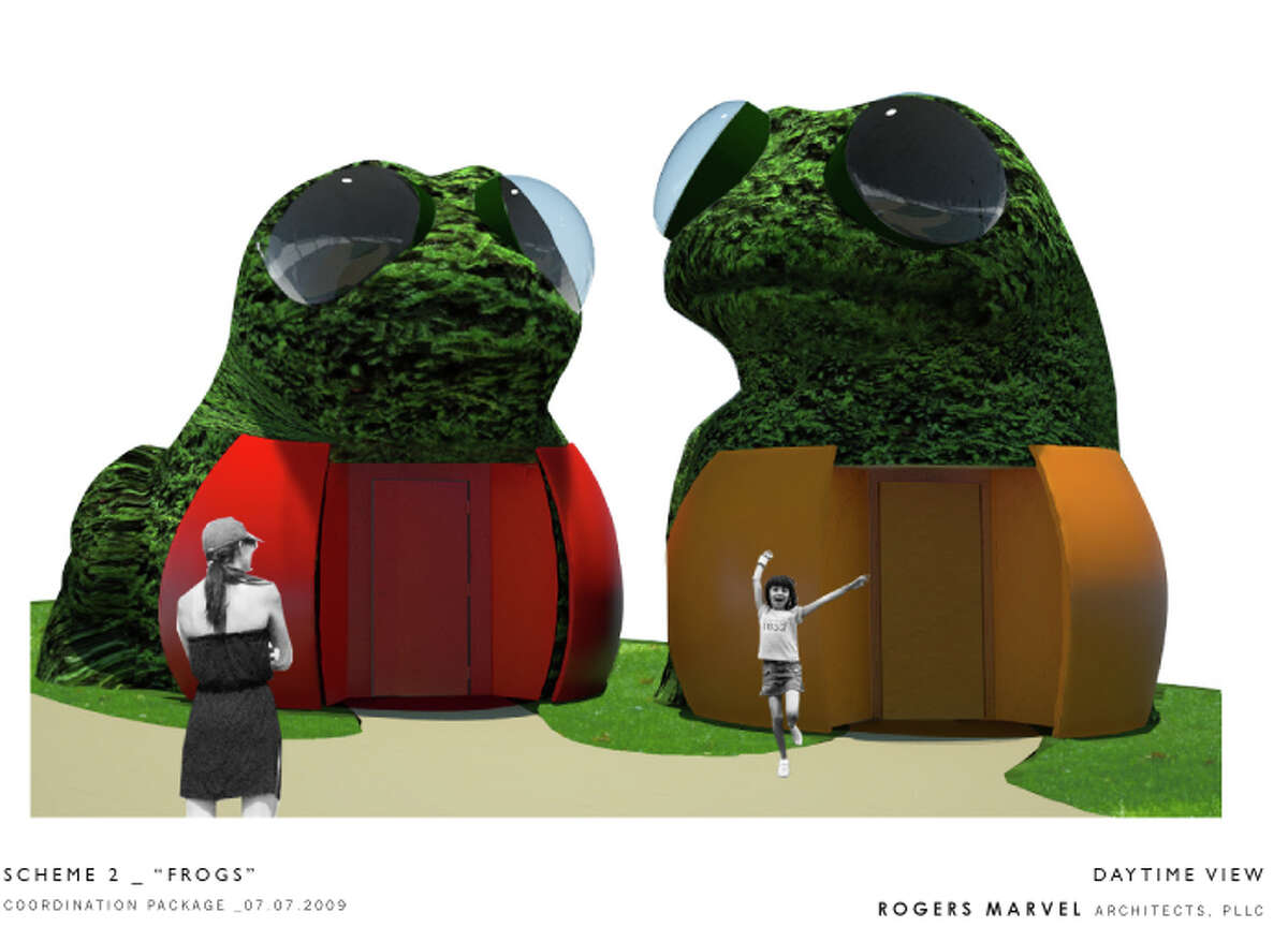 Artist rendering of the proposed restrooms at Mill River Park.