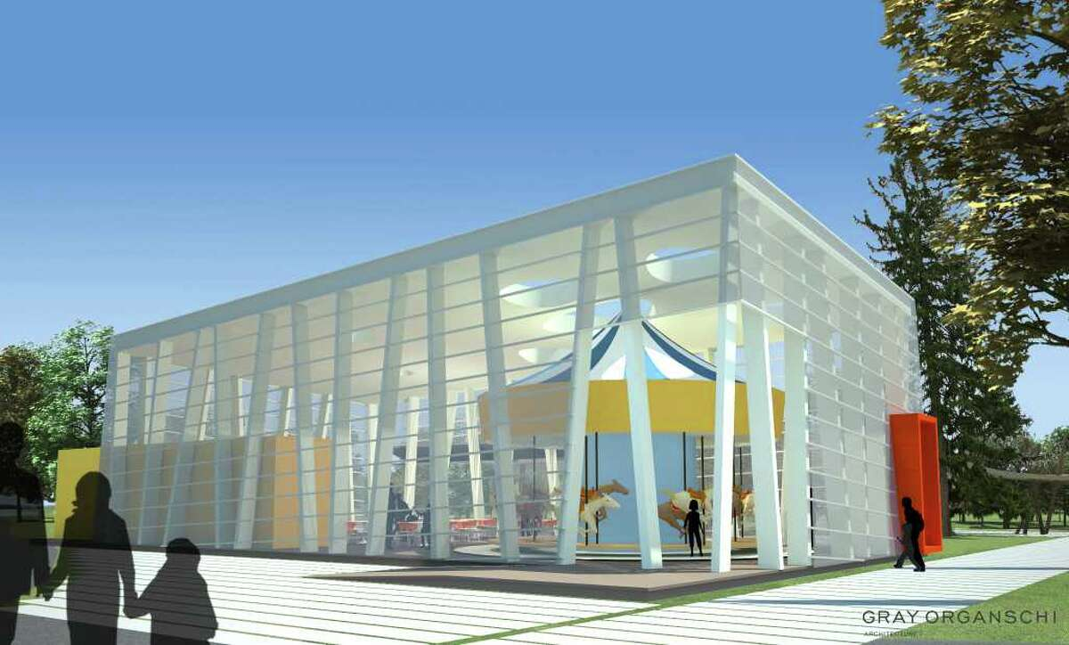A view of the proposed carousel envisioned as part of Stamford's Mill River Park.