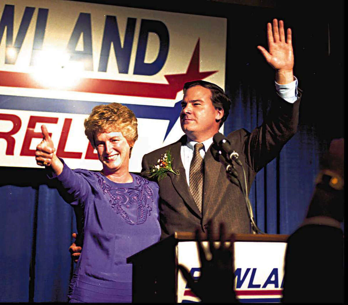 The new governor of Ct John Rowland waves to supporters at the sheraton in Waterbury along side him is his running mate Jodi Rell on Nov. 8th, 1994. (Hartford Courant Photo by Paula Bronstein)
