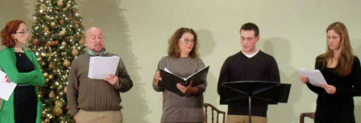 """The ensemble for """"Seasons Readings"""" at the Westport Women's Club included, left to right, Alison Cimet, Tom Zingarelli, Susan Terry, Chris Cafero and Joanna Keylock."""