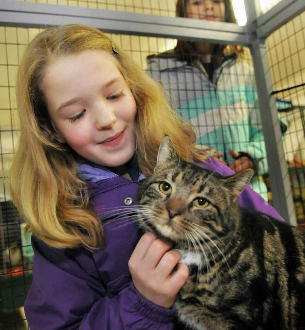 Reagan Harrigan, 10, a student at Susan Odell Taylor School in Troy, pets Barnie on Friday during a class tour of the Mohawk and Hudson River Humane Society in Menands. (John Carl D'Annibale / Times Union)