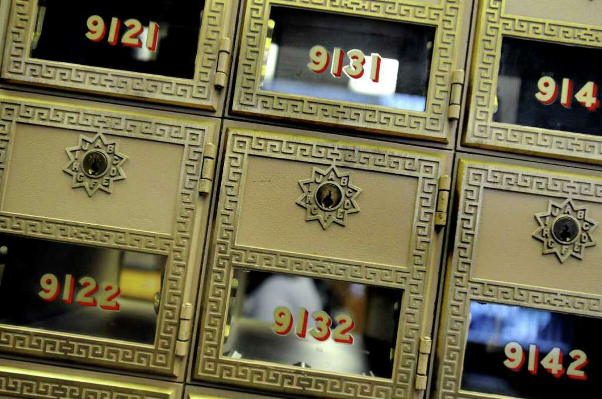 The Delaware Station Post Office's classic mailboxes. (Cindy Schultz / Times Union)
